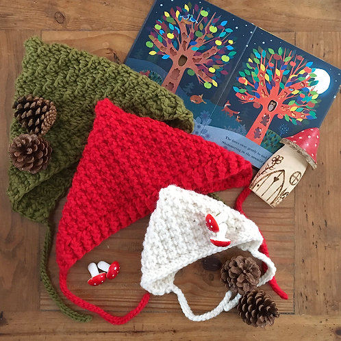 Handmade Aspen crochet pixie bonnet in red and olive green by Little Fig