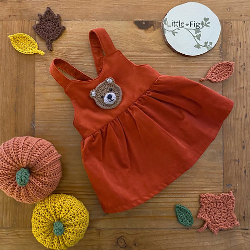 Handmade ETHEL Pinafore childrens rust orange gathered pinafore dress with crochet bear appliqué by little fig