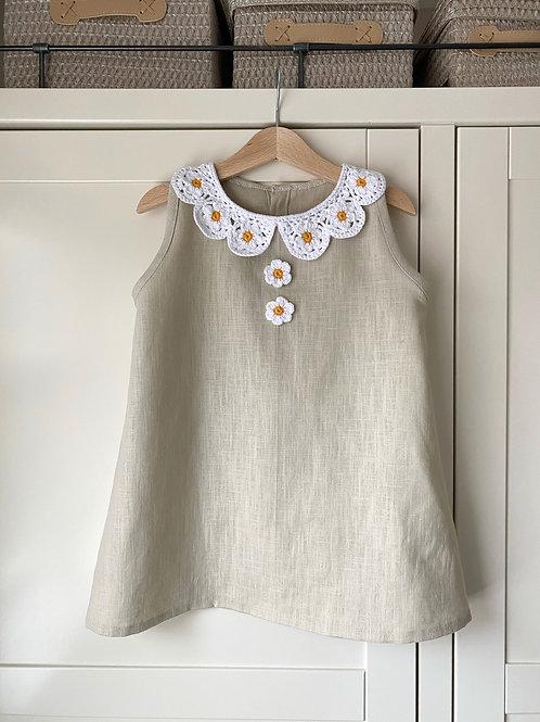 Daisy peter pan crochet collar linen a-line children's dress with daisy buttons by Little Fig