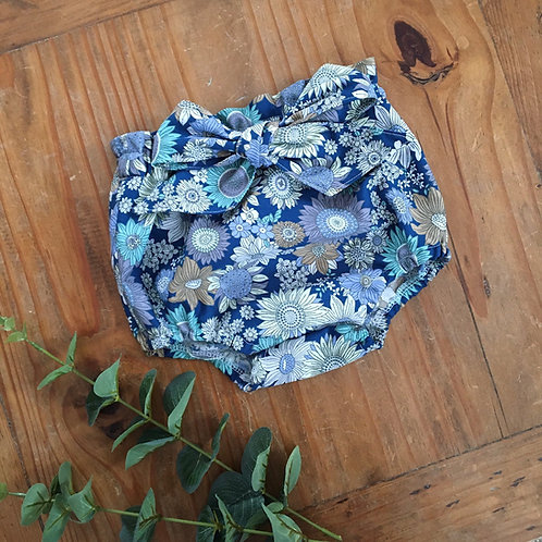 Blue floral vintage style oversized bow bloomers with paperbag waist