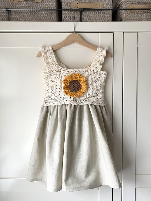 Handmade Linen Crochet Top Sunflower Granny Square Children's Summer Dress with Frill Straps by Little Fig