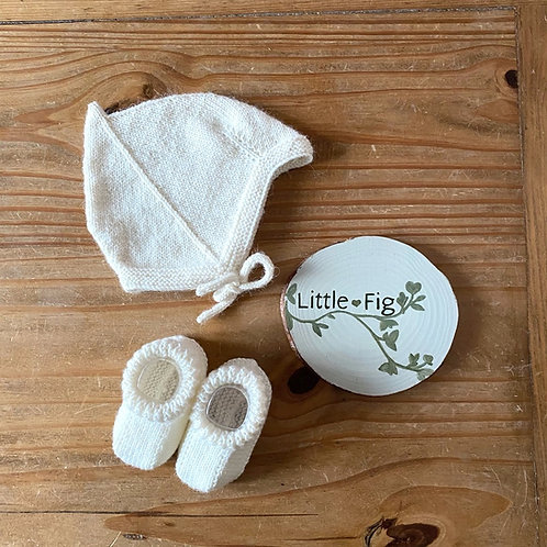 Vintage Style Pixie Bonnet and Bootees Set