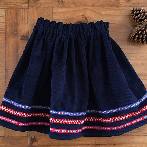 Navy blue corduroy Clara skirt with vintage ribbon by Little Fig