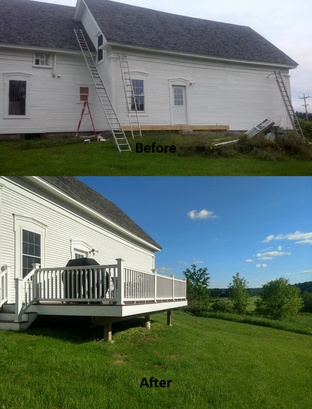Construction of Deck on 1855 Farmhouse