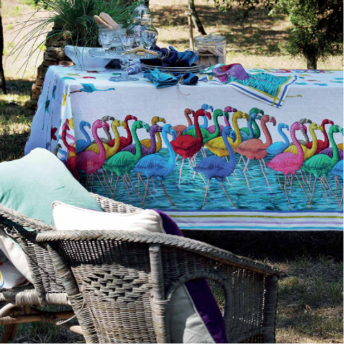 Nappe FLAMINGO Lin - Tessitura Toscana Telerie et La Girafe Bleue