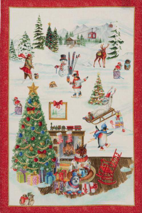 Torchon SNOWY CHRISTMAS FOX - Tessitura Toscana Telerie