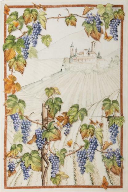 Torchon VIOLETTA Cabernet Lin - Tessitura Toscana Telerie et La Girafe Bleue