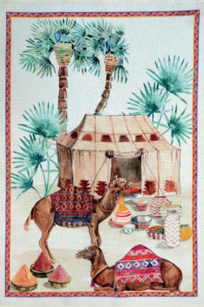 Torchon SOUK Rosso Lin - Tessitura Toscana Telerie et La Girafe Bleue