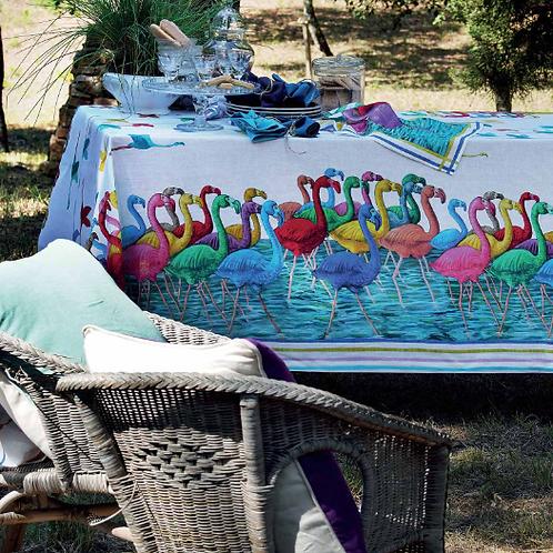 Nappe FLAMINGO Lin - 170 x 170 - Tessitura Toscana Telerie et La Girafe Bleue