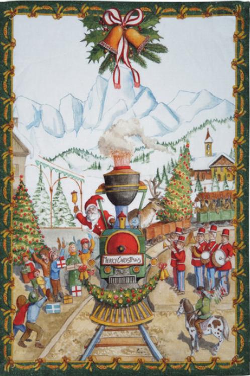 Torchon CHRISTMAS EXRESS VERDE -  Tessitura Toscana Telerie