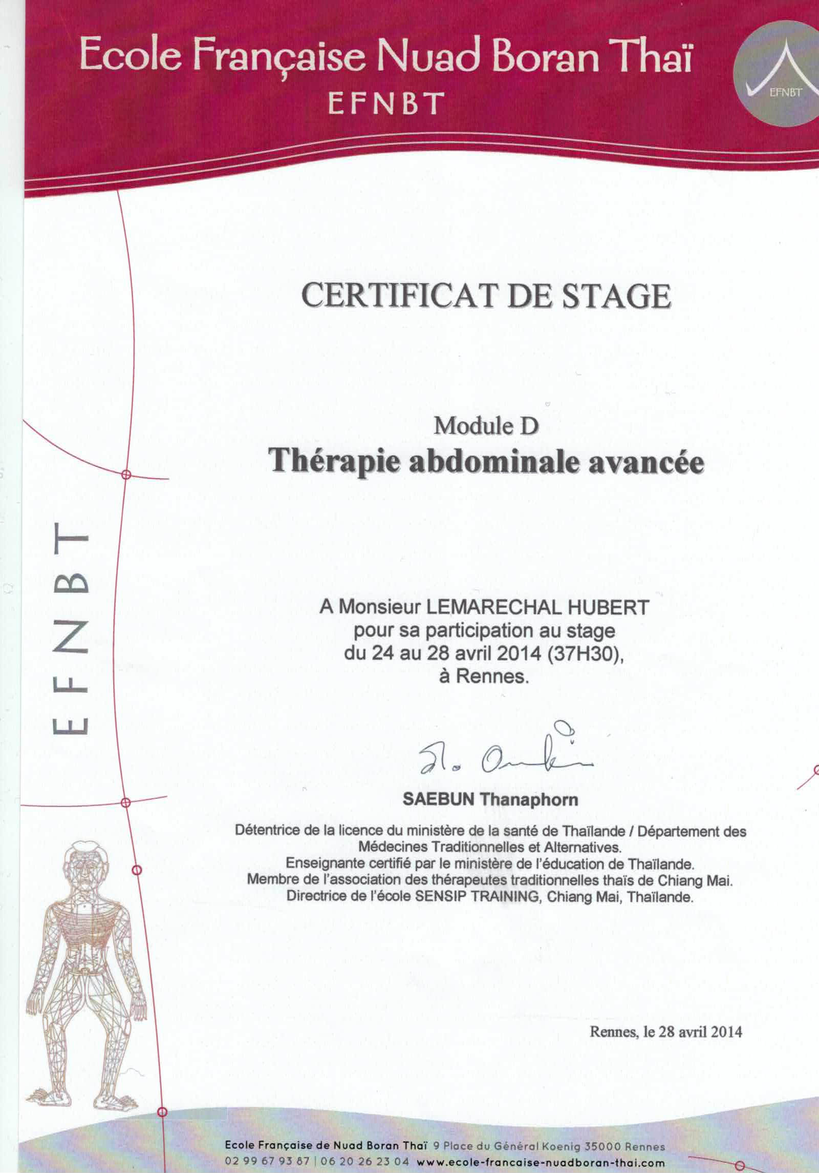 Certificat massage du ventre