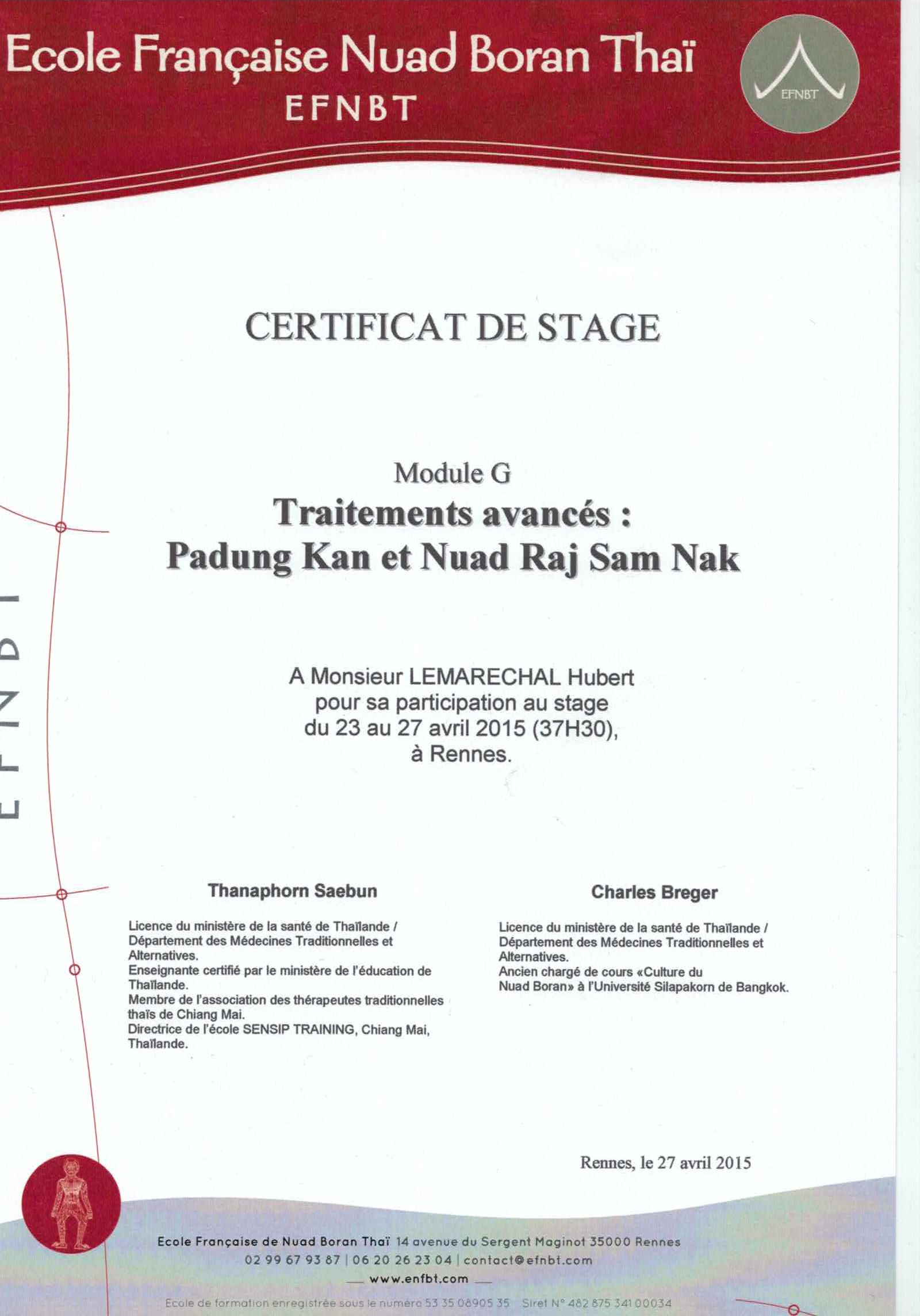 Certificat Massage post partem