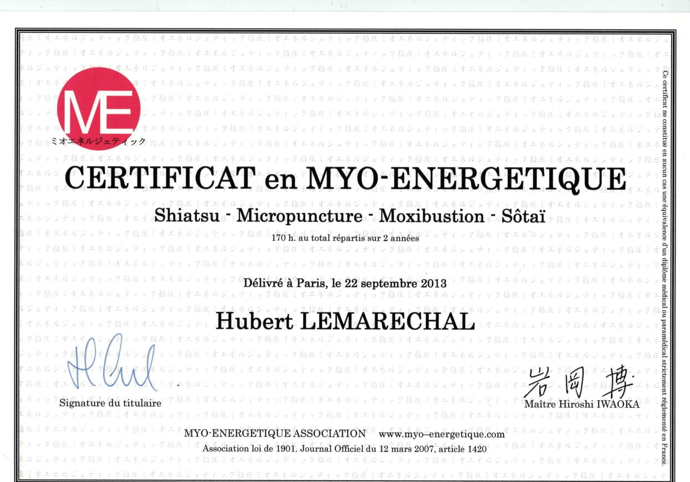 Certificat Shiatsu myo-énergétique