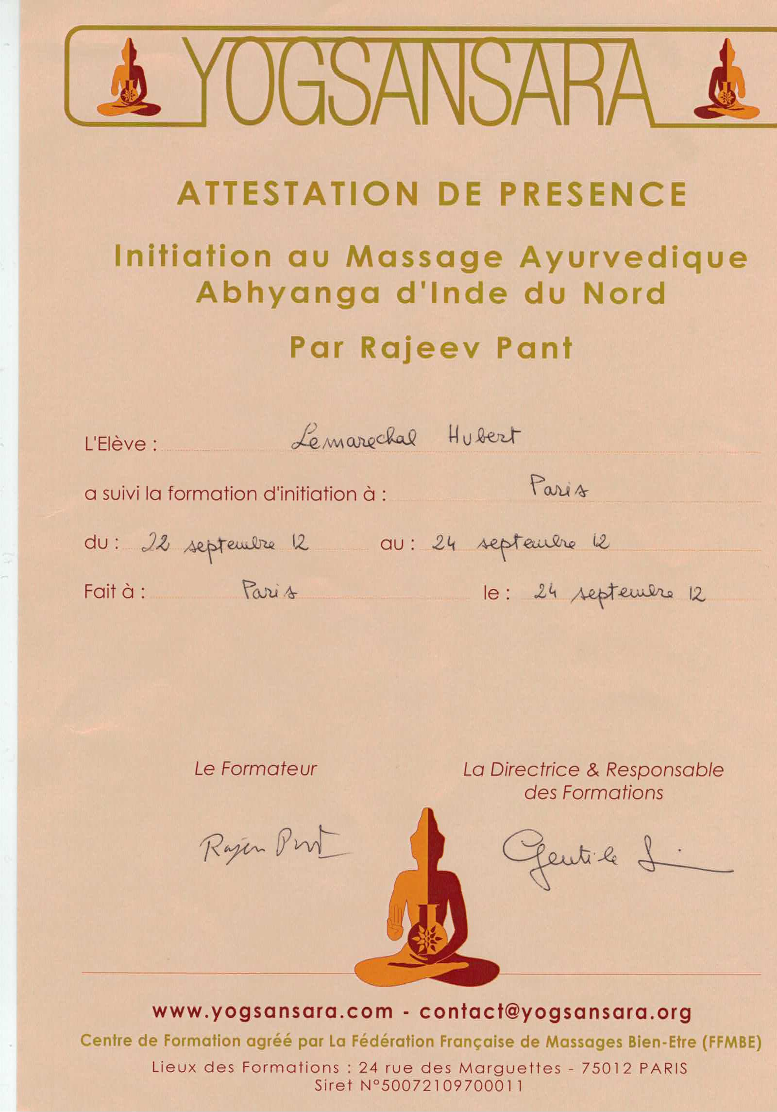 Attestation massage Ayurvédique