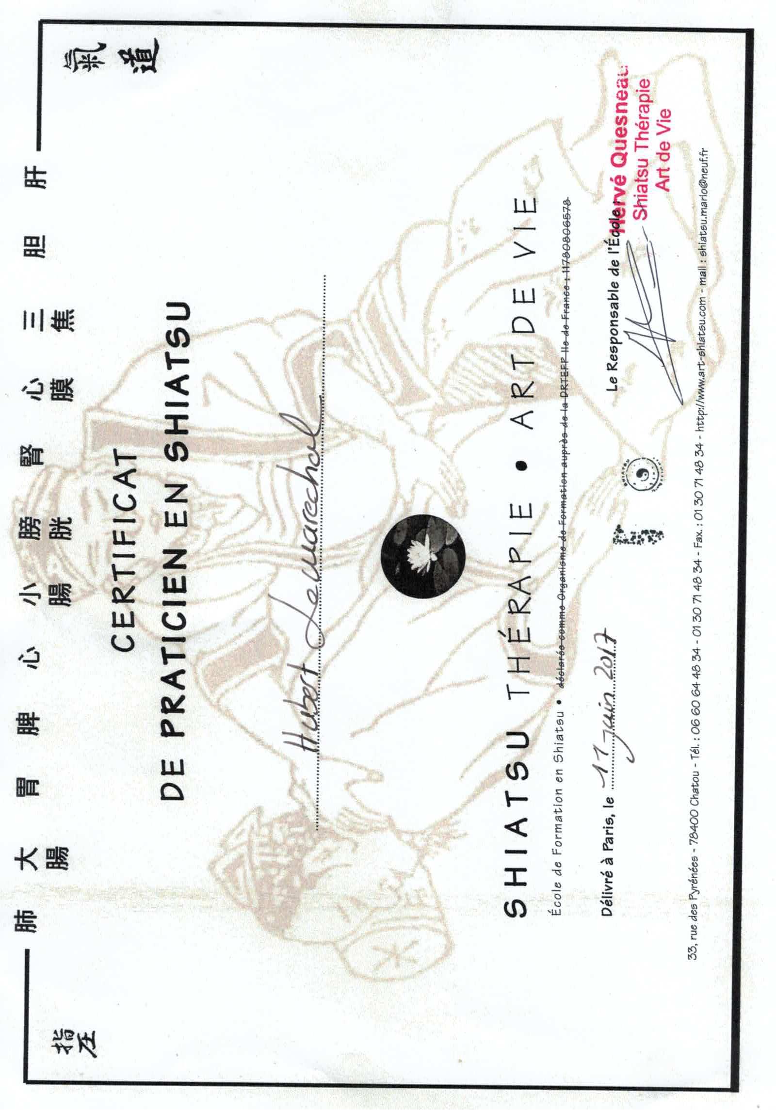 Certificat HL shiatsu Masunaga couleur