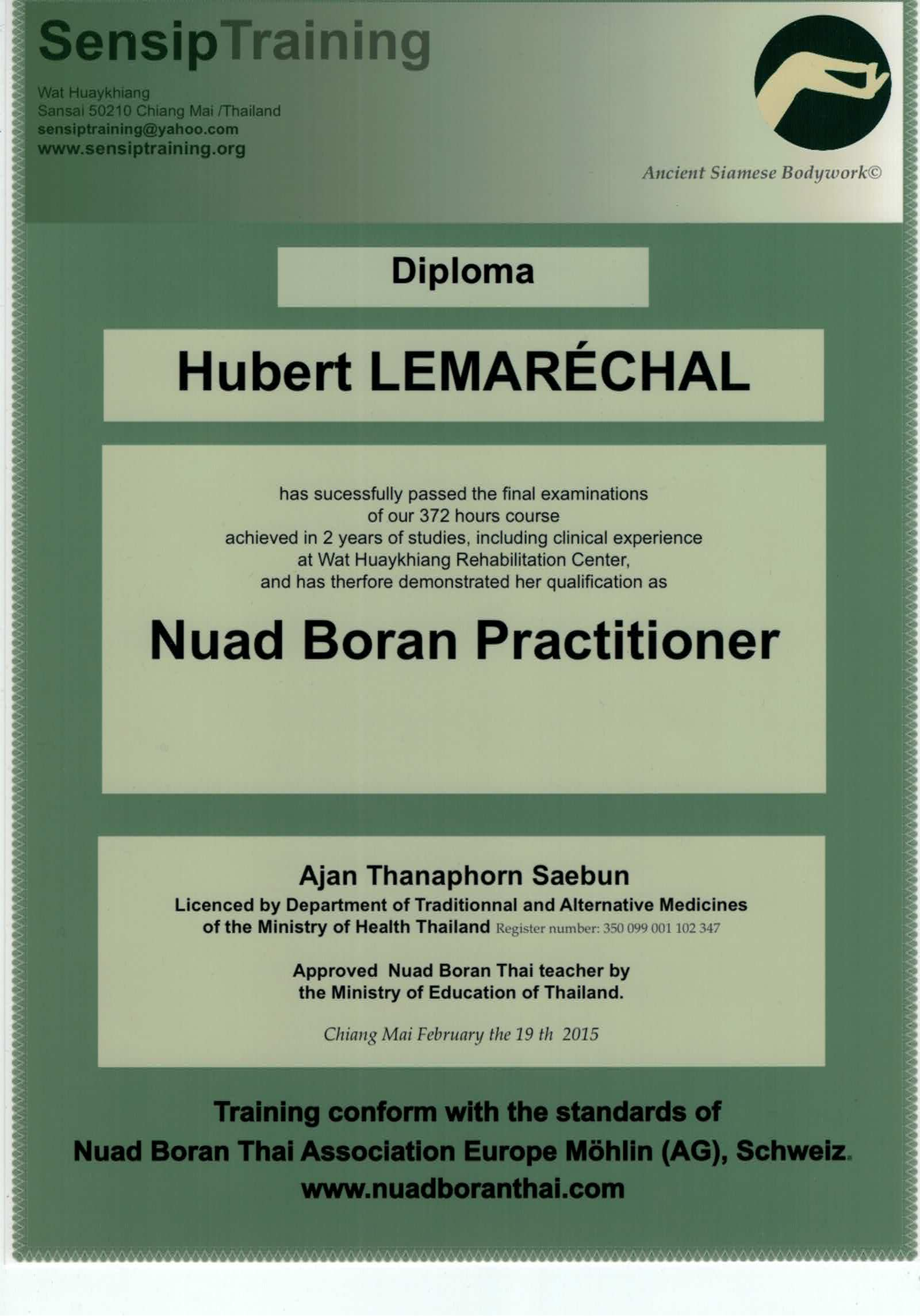 Diplôme NBT massage Nuad Boran Thai