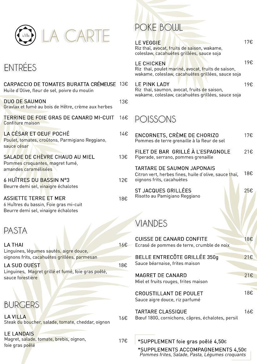 Carte - Restaurant la Villa du Marché