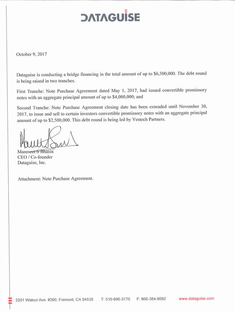 Dataguise debt round letter Oct 2017