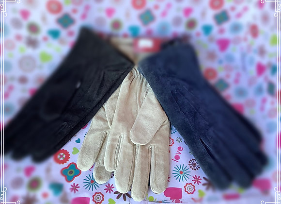 Cosy suede leather gloves