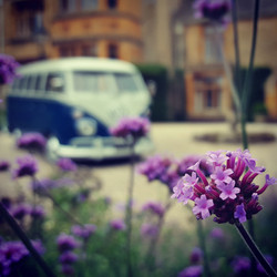 the little blue bus in the cotswolds