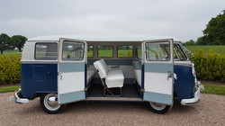 Inside the little blue bus