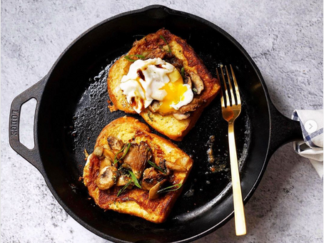 Parmesan French toast with balsamic mushrooms and poached egg