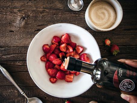 Vegan Coconut Vanilla Panna Cotta w/ Balsamic Strawberries