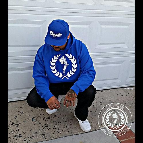 Blue Chaotic Ink logo hoodie