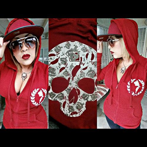 Skull burgandy thermal hoodie