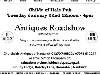 Antiques Roadshow At The Childe of Hale Public House