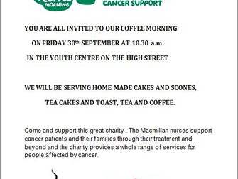 Macmillan Coffee Morning At Hale Youth Centre