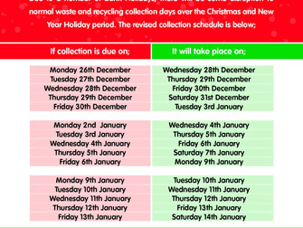 Christmas & New Year Holiday Waste & Recycling Collections