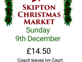 Skipton Christmas Market Coach Trip On Sunday December 9th