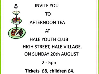 Hale Ladies Group Invite You For Afternoon Tea In Aid Of The New Village Hall