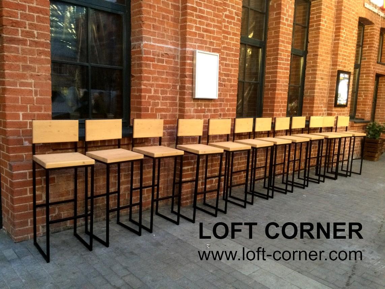 Барные стулья со спинкой в стиле лофт, лофт мебель Москва, барные стулья недорого, стол лофт, стул б