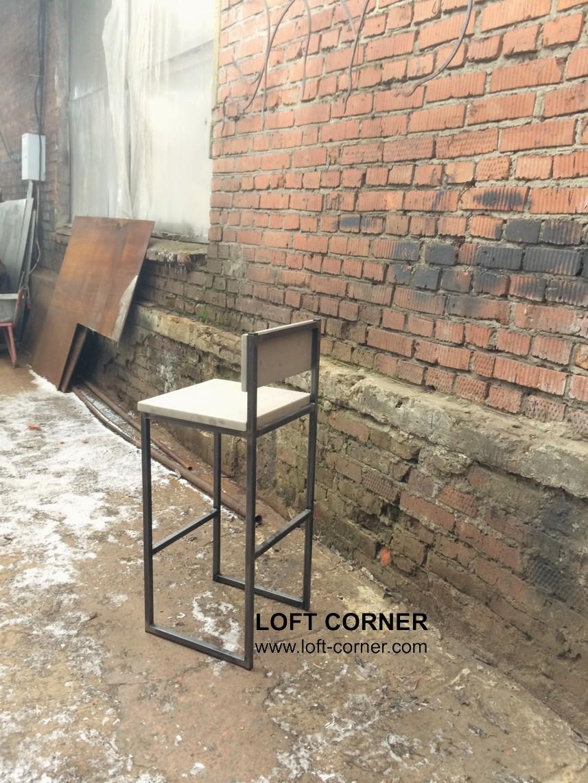 Высокий стул, барный стул лофт со спинкой, недорогая мебель лофт, купить барный, мебель кафе, барная