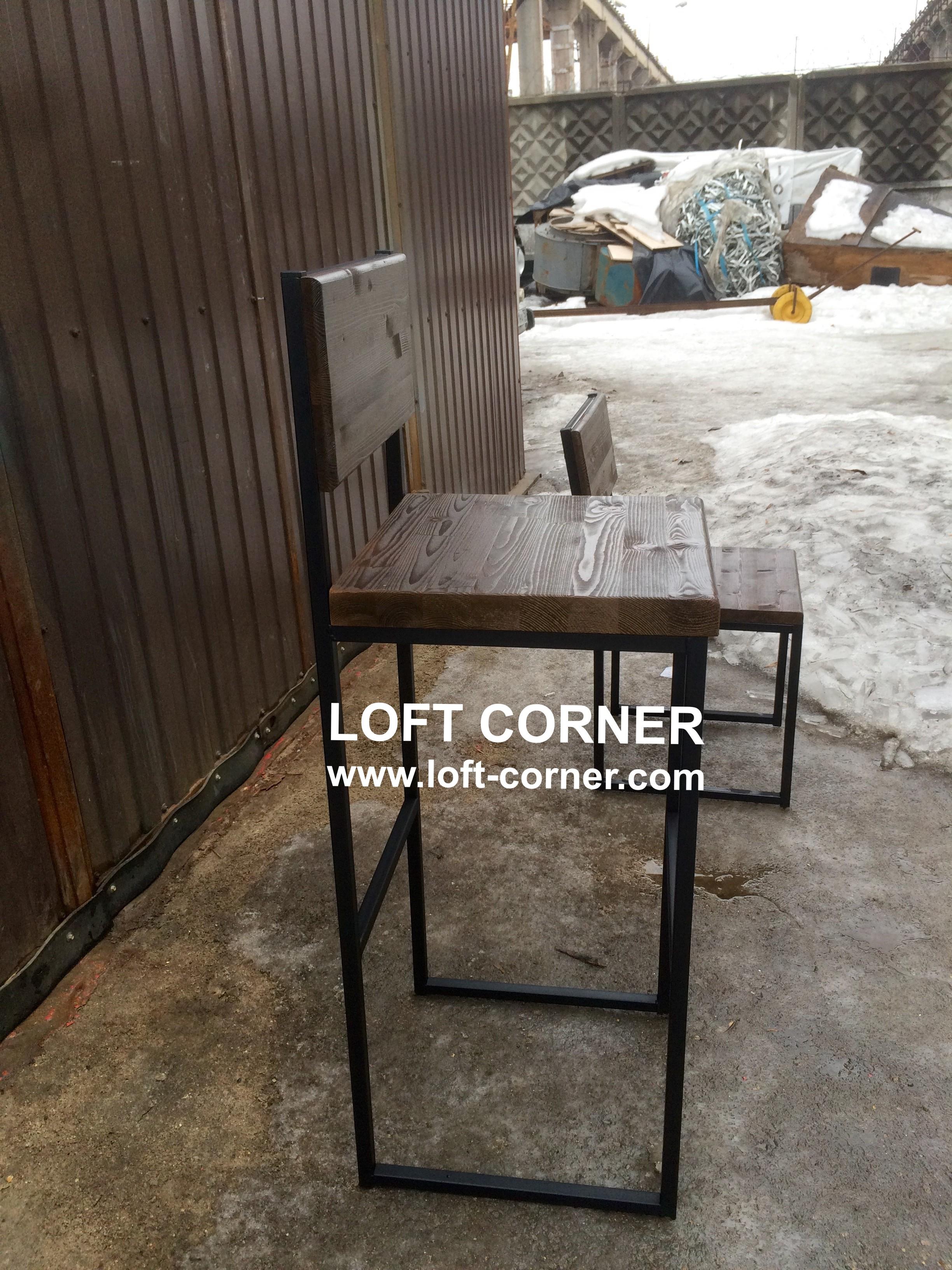 Барная мебель лофт, барный стул лофт, барный стул со спинкой, мебель индастриал, производитель мебел