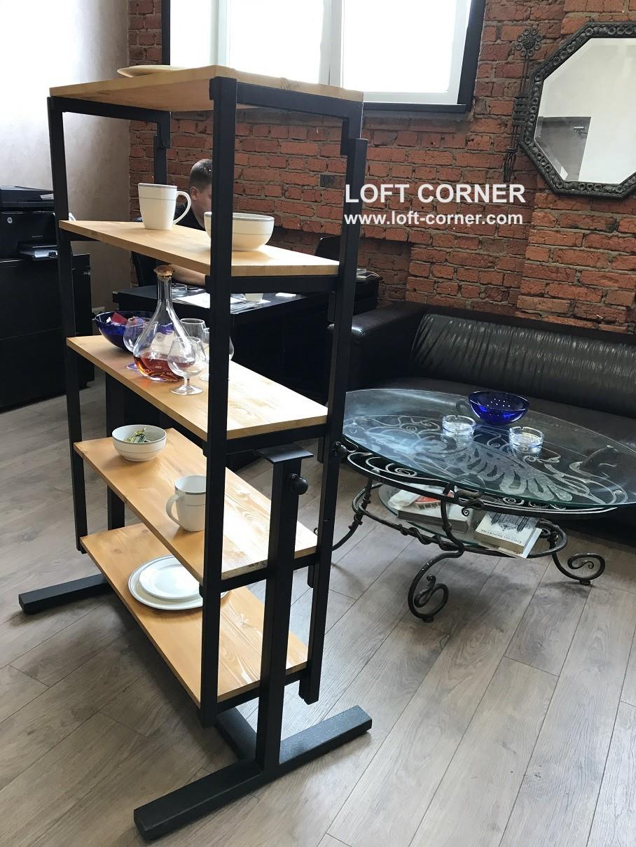 стол-трансформер, стол-стеллаж, мебель в стиле лофт, компактная мебель, интрерьер лофт, стол лофт, с