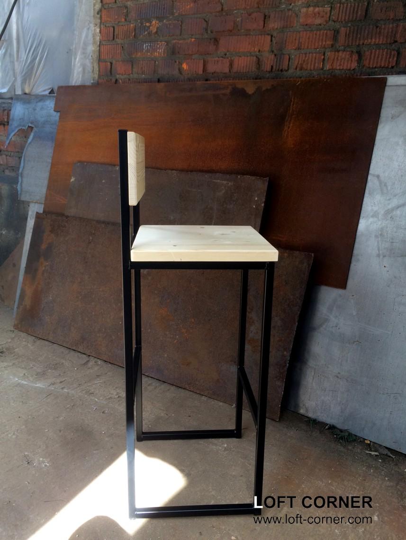 Барная мебель из стали и дерева, барный стул в стиле лофт, купить барный стул можно в LOFT CORNER, м