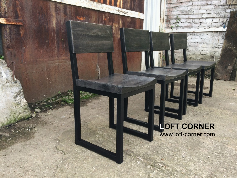 Стулья лофт с выемкой в темном цвете, стул для бара лофт, мебель для ресторана лофт, мебель кафе лоф