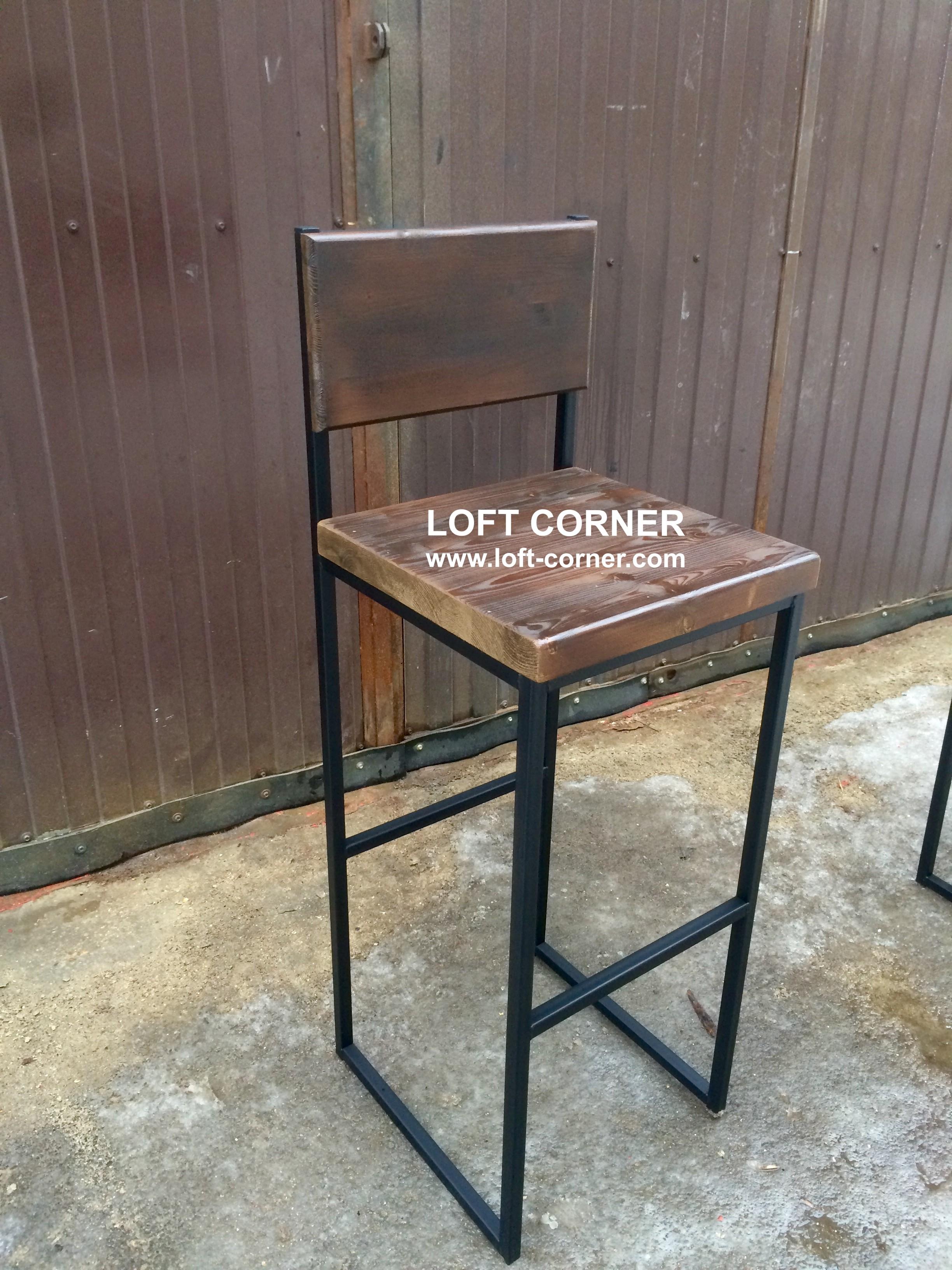 Мебель для бара лофт, барный стул индастриал, барный стул лофт, барный стул со спинкой лофт