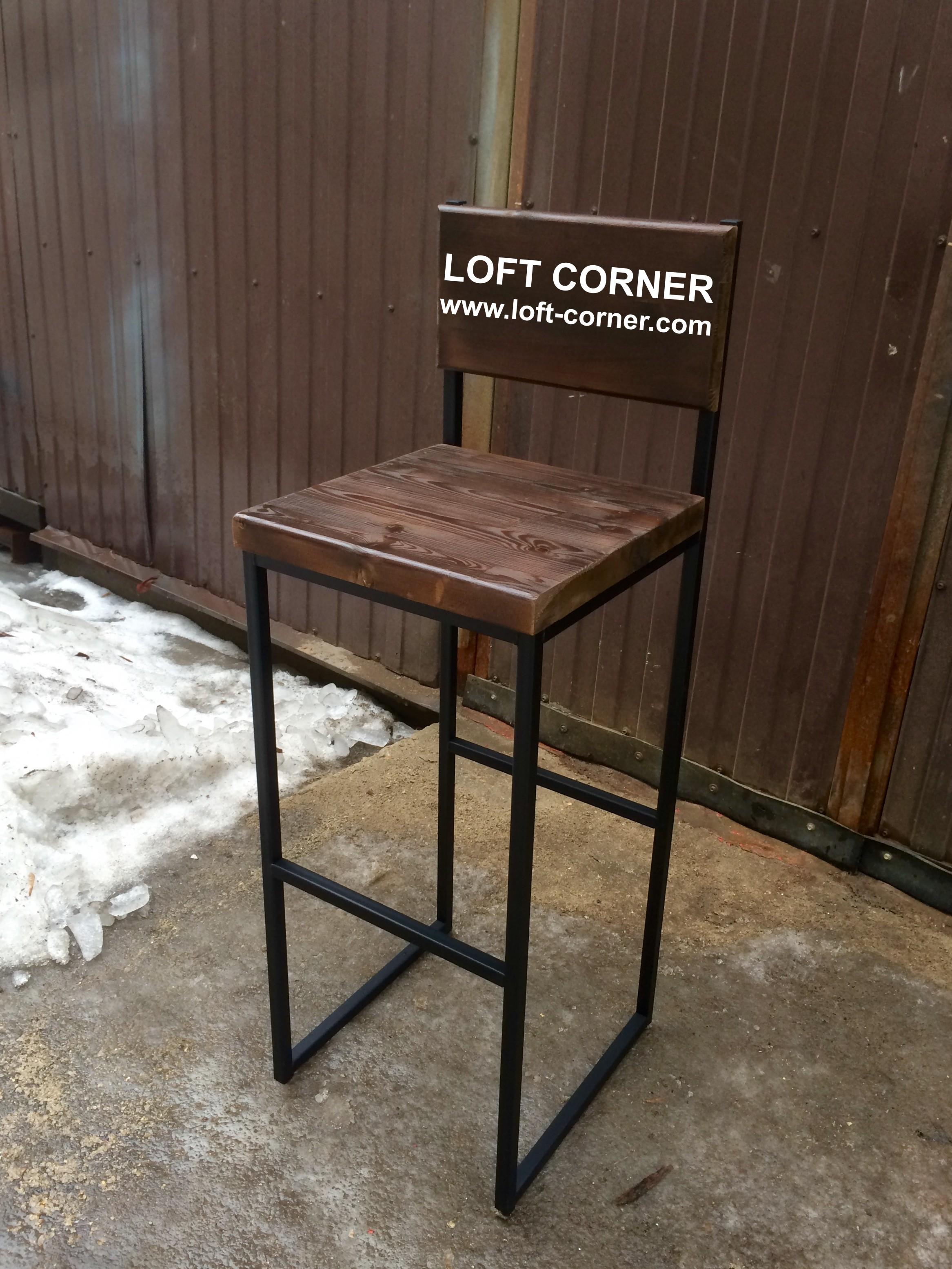 Барный стул со спинкой лофт, ресторанная мебель лофт, производство ресторанной мебели лофт, барный с