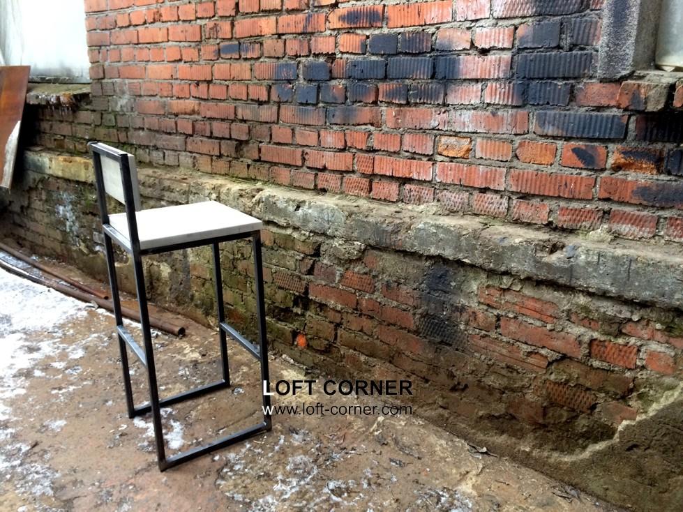 Барный стул со спинкой в стиле лофт, мебель для ресторана купить лофт, loft мебель, стул лофт, стиль