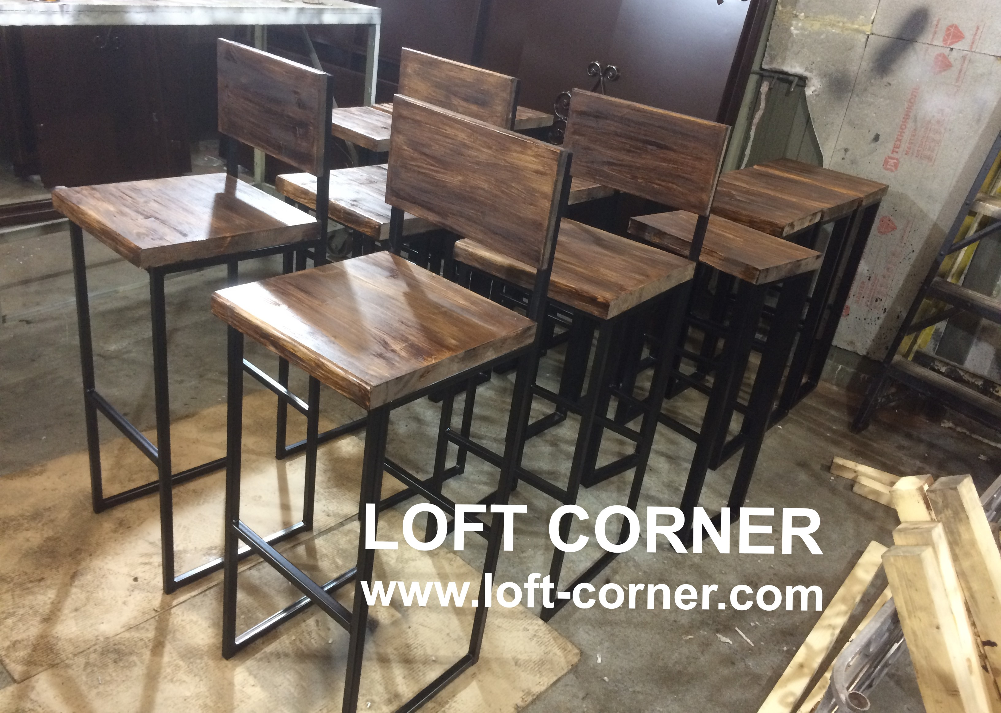 Барная мебель лофт, барные стулья лофт, ресторанные стулья лофт, мебель в индустриальном стиле