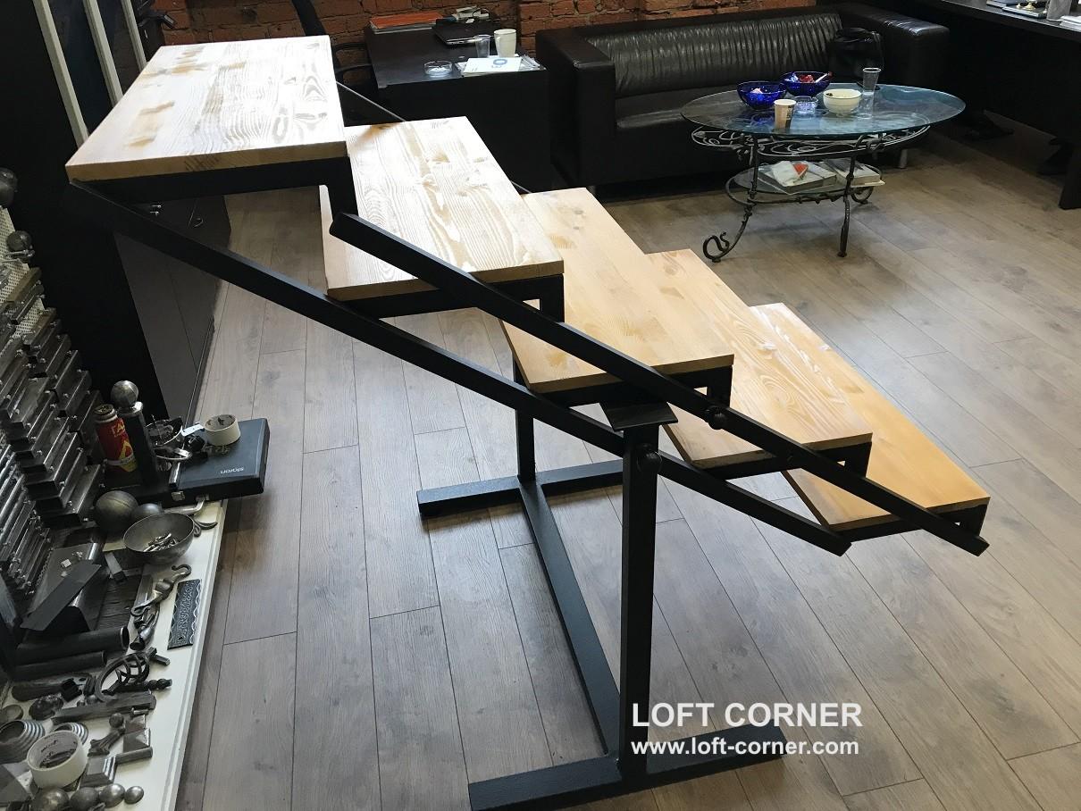 Стол-стеллаж, стеллаж трансформер, стол трансформер, стол лофт, превращающийся в стеллаж