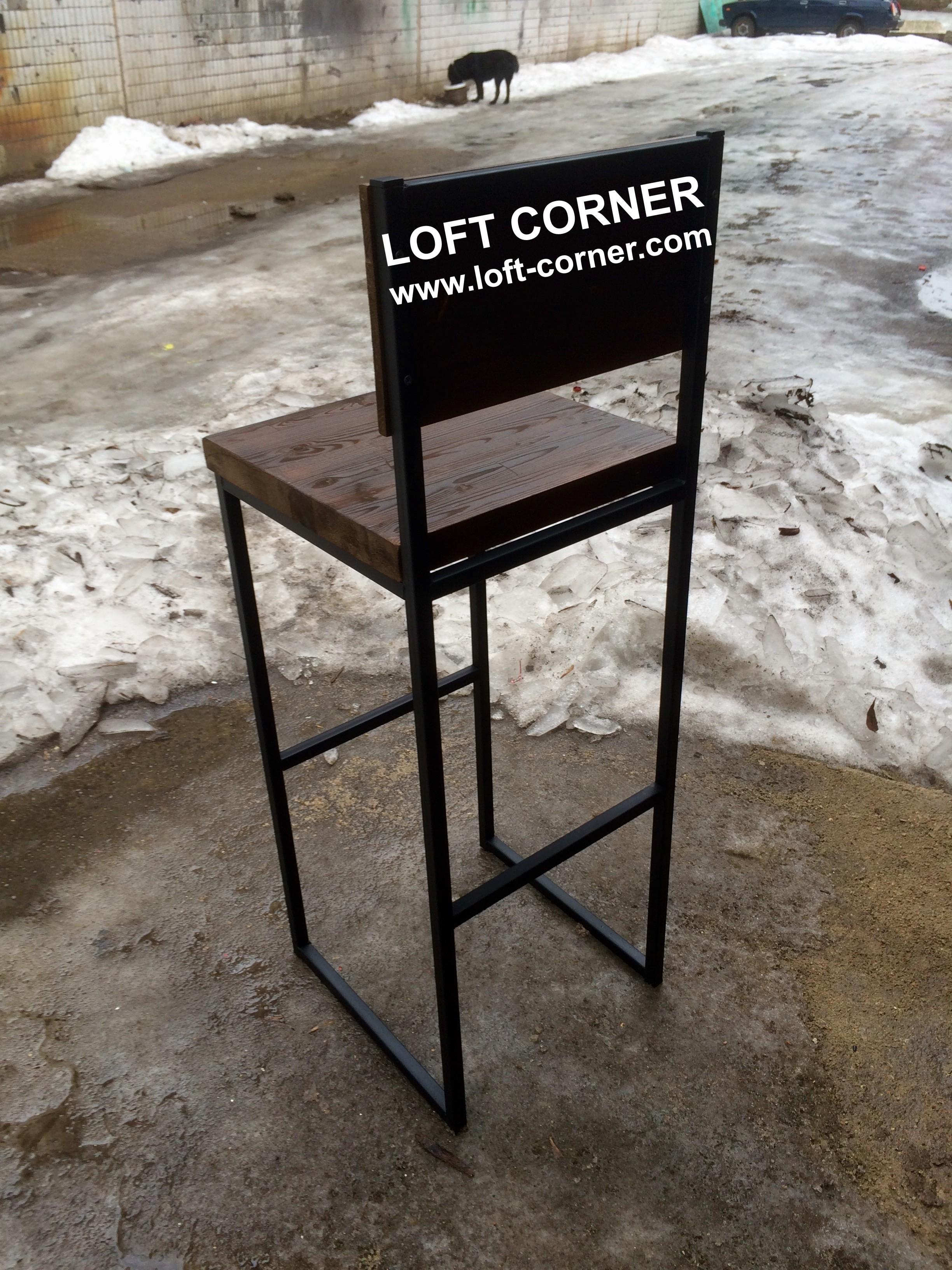 Мебель для бара индастриал, барный стул со спинкой лофт, производтство ресторанной мебели лофт, барн