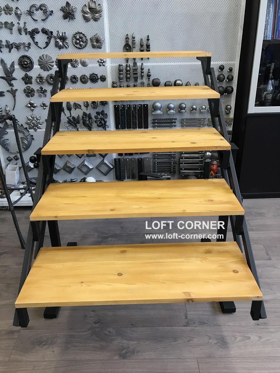 Стеллаж-стол, компактный стол-стеллаж, стол-трансформер, мебель лофт компактная, производство уникал