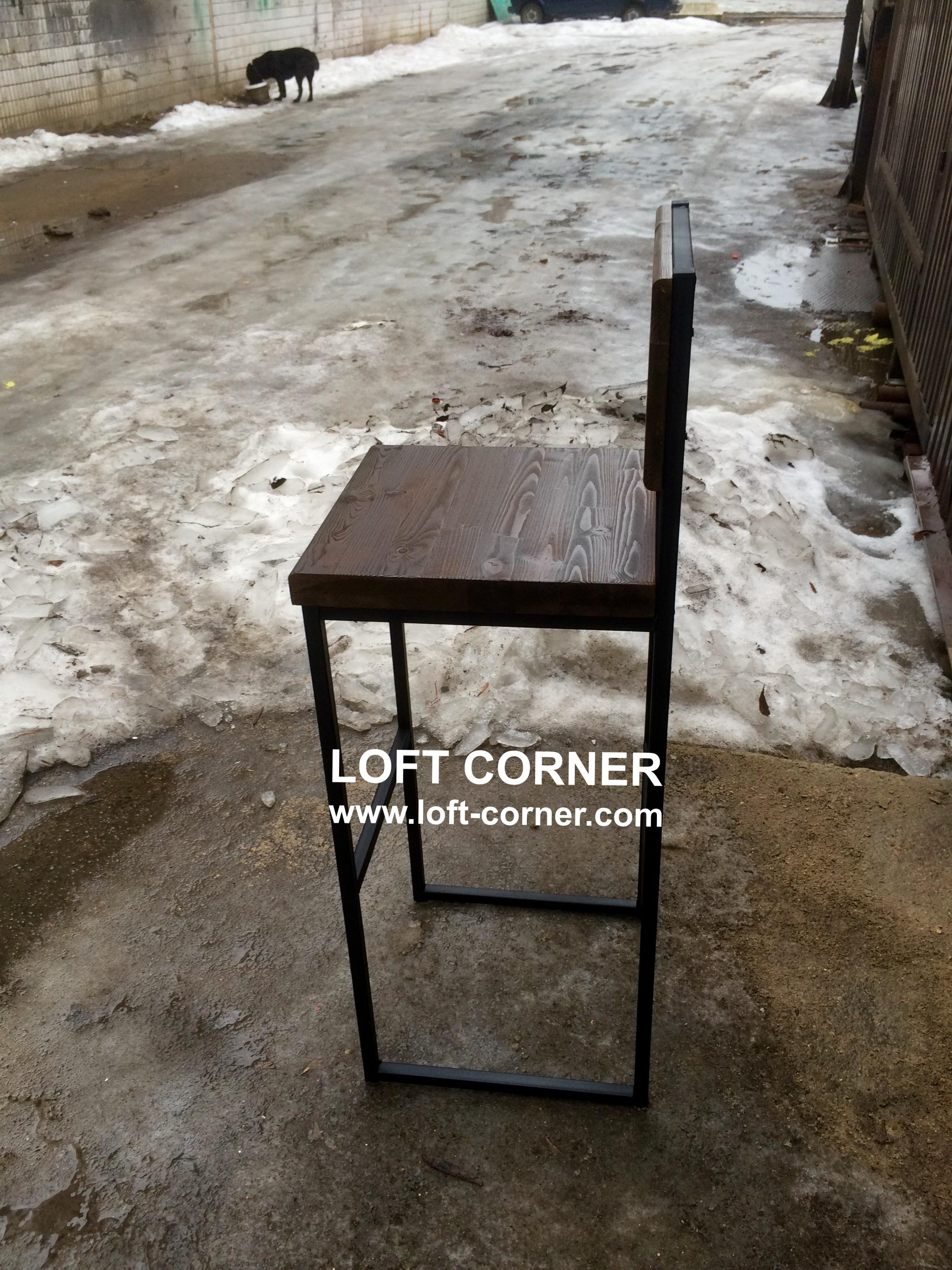 Барный стул со спинкой индастриал, барный стул лофт, производтство мебели лофт индастриал