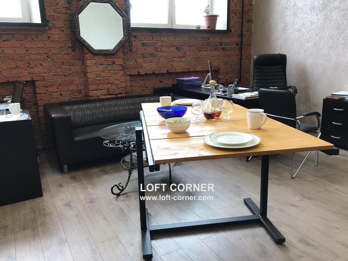 Компактная мебель лофт, стол транформируется в сталлаж, обеденный стол лофт, производство мебели лоф