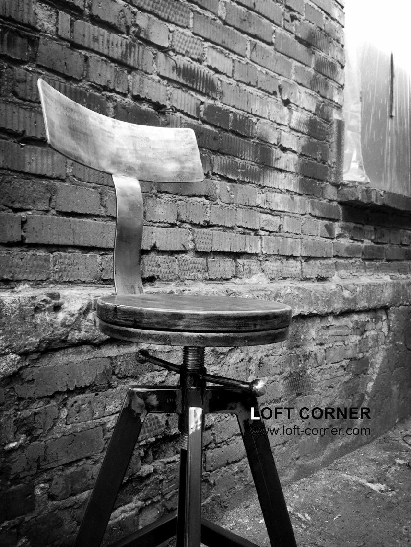 Мебель лофт, дизайнерский стул в индустриальном стиле, необычный стул, барный стул купить в Москве,